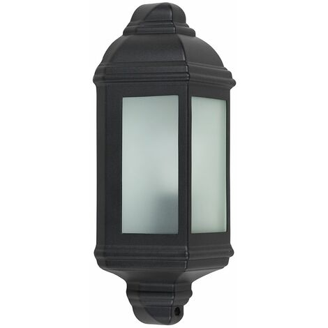 Black Outdoor Porch Wall Lantern Ip44 Light + 1 x 6W LED Es E27 Bulb