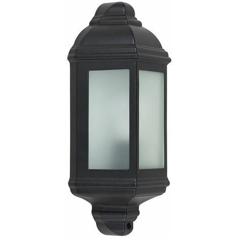 Black Outdoor Porch Wall Lantern Ip44 Light + 1 x 6W LED Es E27 Bulb - Black