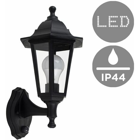 Black Outdoor Security Dusk To Dawn Ip44 Rated Wall Light - 15W LED Gls Bulb Cool White - Black