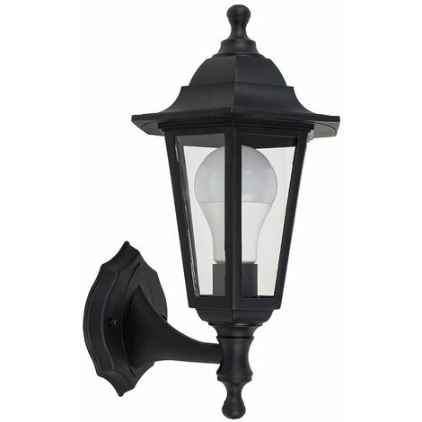 Black Outdoor Security Ip44 Rated Wall Light - 15W LED Gls Bulb Cool White - Black