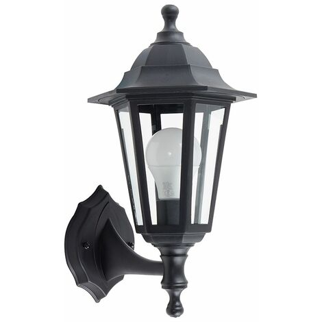 Black Outdoor Security Ip44 Wall Light Lantern + 1 x 6W LED Es E27 Bulb