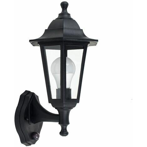 Black Outdoor Security Pir Motion Sensor Ip44 Wall Light + 1 x 6W LED Es E27 Bulb - Black