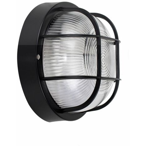 Black Outdoor Security Round Bulkhead Wall Light - Ip44+ 4W LED Bulb