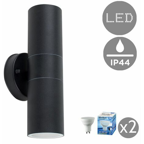 Black Outdoor Up/Down Wall Light Energy Sav GU10
