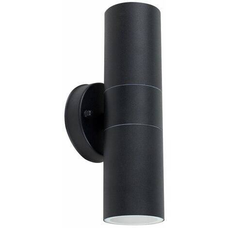 Black Outdoor Up/Down Wall Light Energy Sav GU10 - No Bulb - Black