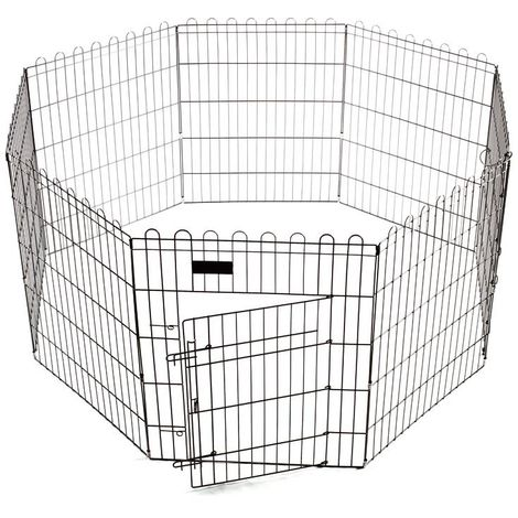 Black painted metal fence for dogs puppies and small animals consisting of 8 removable panels