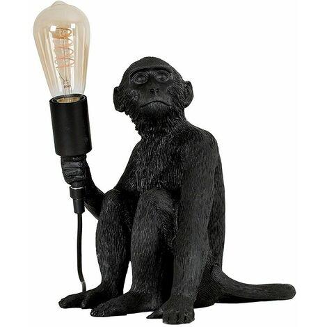 Black Painted Monkey Table Lamp + 4W LED Helix Filament Bulb 2200K Warm White - Black