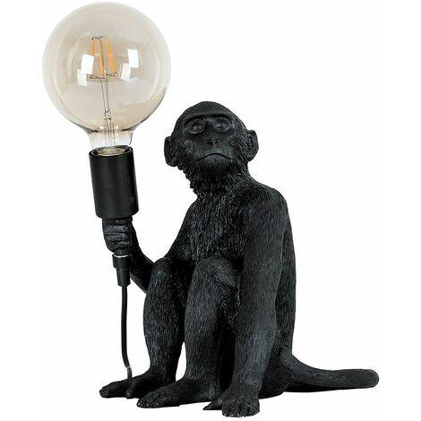 Black Painted Monkey Table Lamp + 6W LED Filament Globe Bulb Warm White - Black
