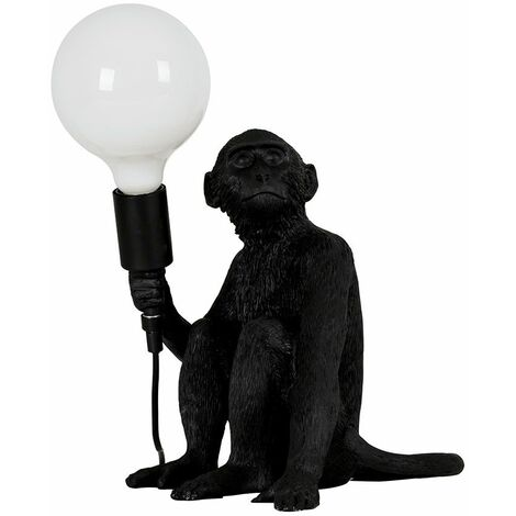 Black Painted Monkey Table Lamp + 6W LED Globe Bulb Neutral White - Black