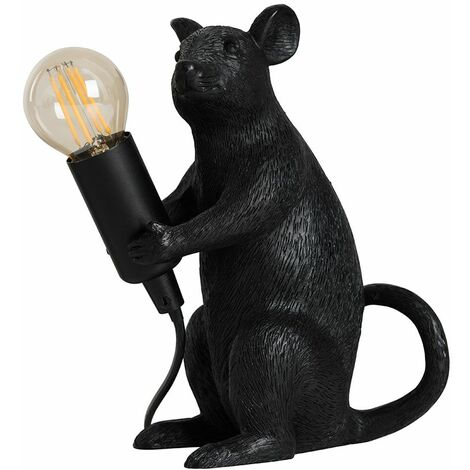 Black Painted Rat Table Lamp + 4W LED Filament Bulb Warm White - Black