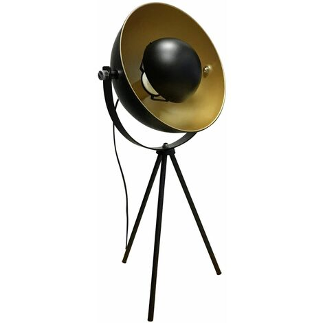 Black Painted Table Lamp Bedside Light LED compatible Contemporary Style