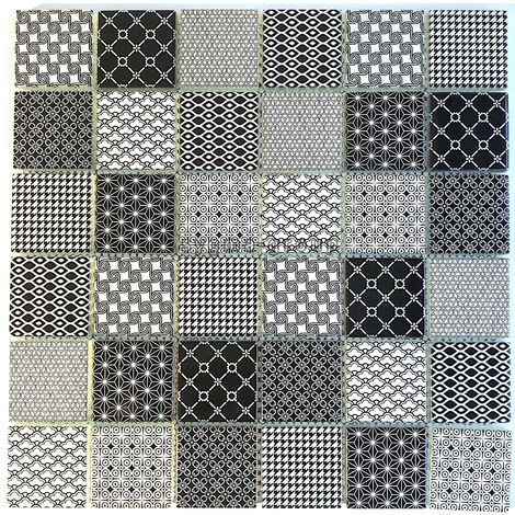 black pattern glass tile wall backsplash kitchen and bathroom mv-salax
