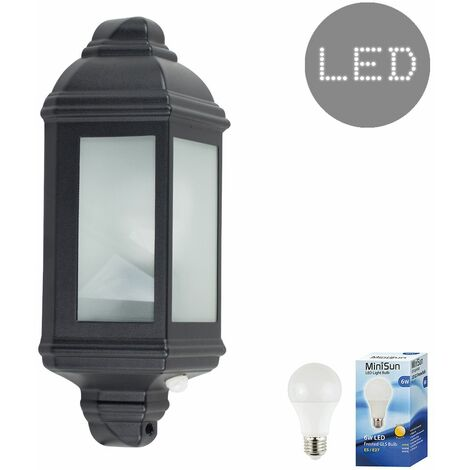 Black Pir Motion Sensor Outdoor Wall Ip44 Light + 6W LED Es E27 Bulb