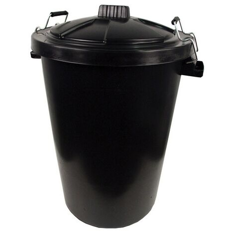 Black Plastic Dust Bin and Metal Clip Locking Lid 85 Litre Heavy Duty