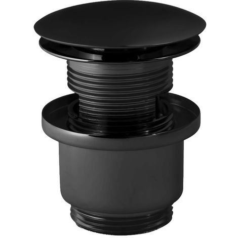Black Powder Coated Brass Slotted Button Waste Basin Plug Sink Click Clack