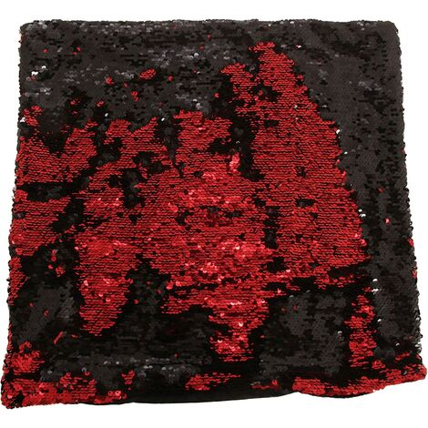"Black & Red Two-Colour Cushion Cover Reversible Sequins Scatter Cushion 17""x17"""