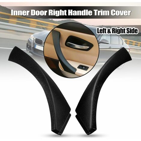 Black Right Interior Door Panel Handle Exterior Trim Cover For E90 3 Series Sedan