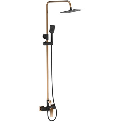 Black/Rose Gold Brass Bathroom Shower Column Set Handshower Square Rainfall