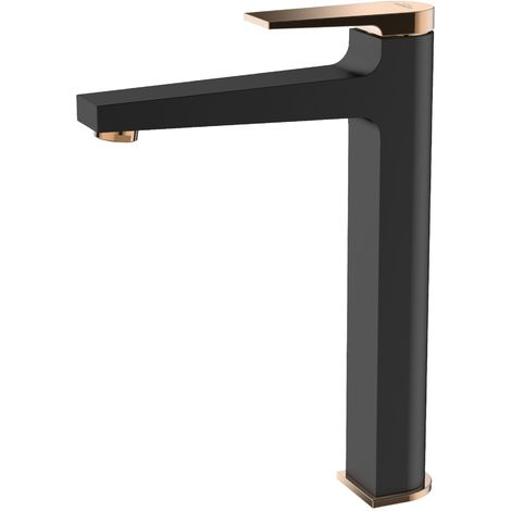 Black/Rose Gold Brass Bathroom Tall Basin Faucet Mixer Tap + Click-Clack Plug
