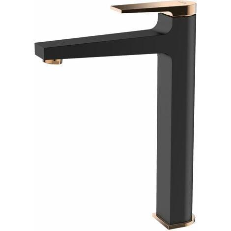 Black/Rose Gold Brass Bathroom Tall Basin Faucet Mixer Tap + Click-Clack Plug