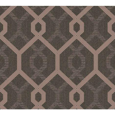 Black Rose Gold Geometric Pattern Gold Glitter Metallic Vinyl Wallpaper Embossed