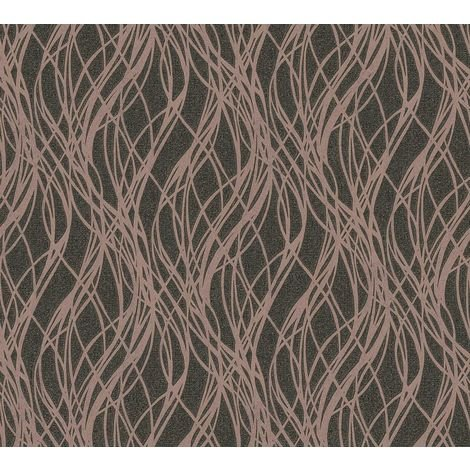 Black Rose Gold Ribbon Stripe Wave Glitter Metallic Vinyl Wallpaper Embossed
