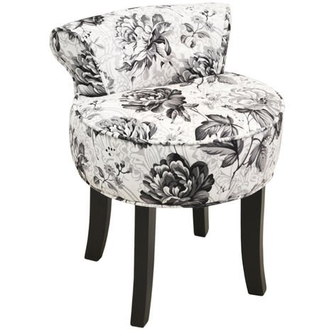 """main image of """"BLACK ROSE - Stool / Low Back Padded Dressing Chair with Wood Legs - Black / White"""""""