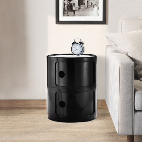 Black Round Bathroom Bedroom 2 Drawer Storage Unit ABS Cabinet Cupboard Bedside Table