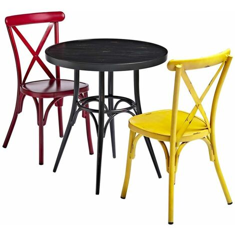 """main image of """"Black Round Cafe Table and Chair Set"""""""