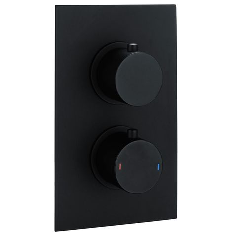"""main image of """"Black Round Concealed Twin Thermostatic Shower Valve by Voda Design"""""""