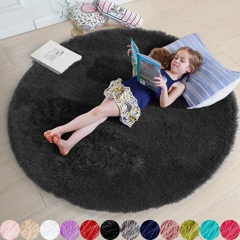 "main image of ""Black Round Rug for Bedroom, 5'X5 'Fluffy Round Rug for Nursery, Fur Rug for Teenage Room, Shaggy Circular Rug for Nursery, Fuzzy Plush Rug for Dorm, Black Rug, Home Decor cute baby room"""