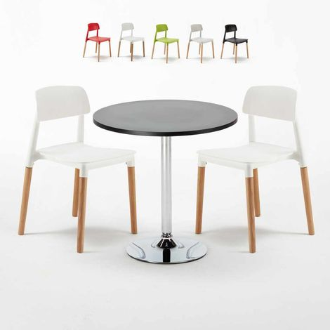 Black Round Table 70x70cm And 2 Chairs Home Interiors BARCELLONA COSMOPOLITAN