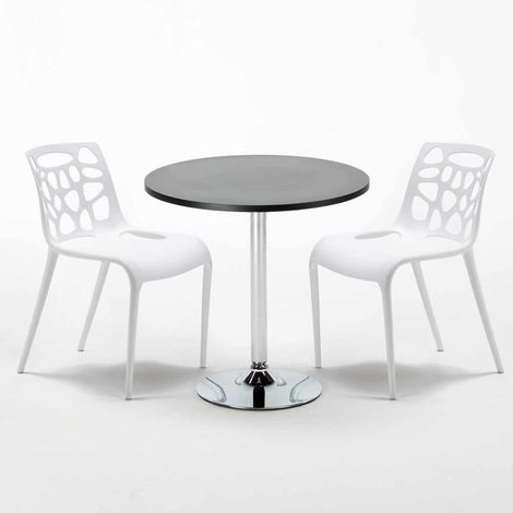 Black Round Table 70x70cm And 2 Chairs Home Interiors GELATERIA COSMOPOLITAN