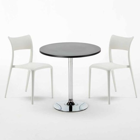 Black Round Table 70x70cm And 2 Chairs Home Interiors PARISIENNE COSMOPOLITAN