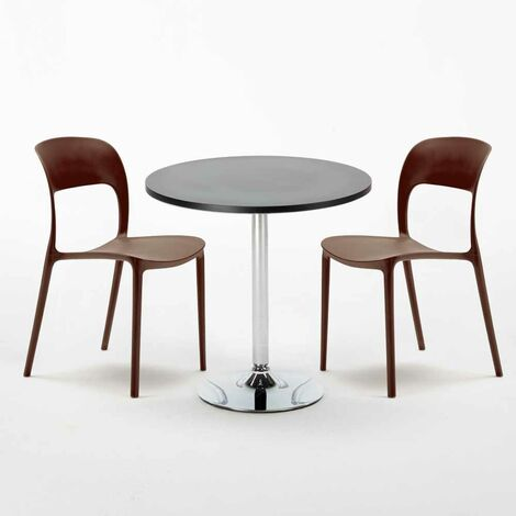 Black Round Table 70x70cm And 2 Chairs Home Interiors RESTAURANT COSMOPOLITAN
