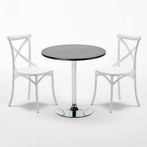 Black Round Table 70x70cm And 2 Chairs Home Interiors VINTAGE COSMOPOLITAN