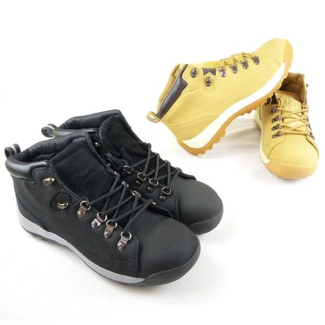 Black Safety Steel Toe Cap Work Boots Shoes Hikers Uk Size 10