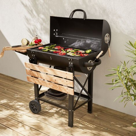 Black Serge American-style smoker and charcoal barbecue, ash collector, side shelves, wheels