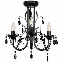 Black Shabby Chic 3 Way Ceiling Light Chandelier + Black Acrylic Jewel Beads