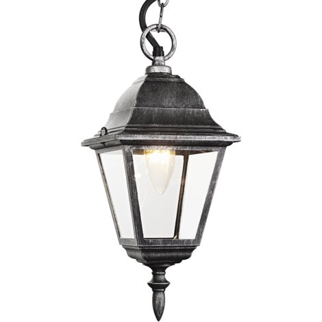 Black/Silver Cast Aluminium IP44 Outdoor Hanging Lantern by Happy Homewares