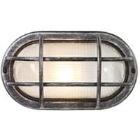 Black/Silver Cast Aluminium Outdoor Oval Bulkhead Wall Light by Happy Homewares