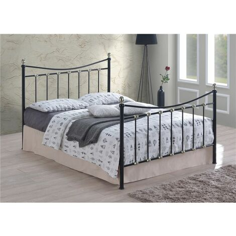 Black & Silver Chrome Metal Bed Frame - Double 4ft 6""