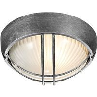 Black/Silver Die Cast Aluminium Outdoor Circular Bulkhead Porch or Wall Light by Happy Homewares