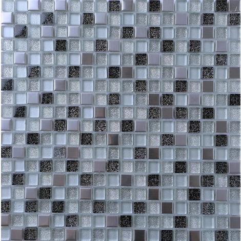 Black & Silver Glass and Brushed Steel Mosaic Tiles MT0151