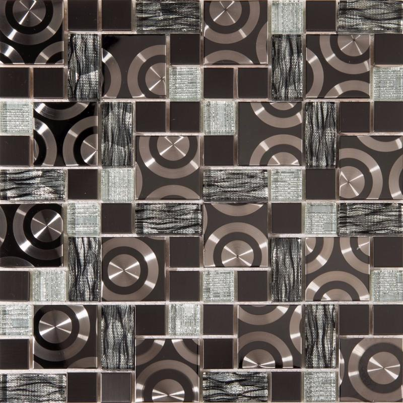 Image of Black & Silver Glass with Steel Bathroom Kitchen Mosaic Tile SQM (MT0175)