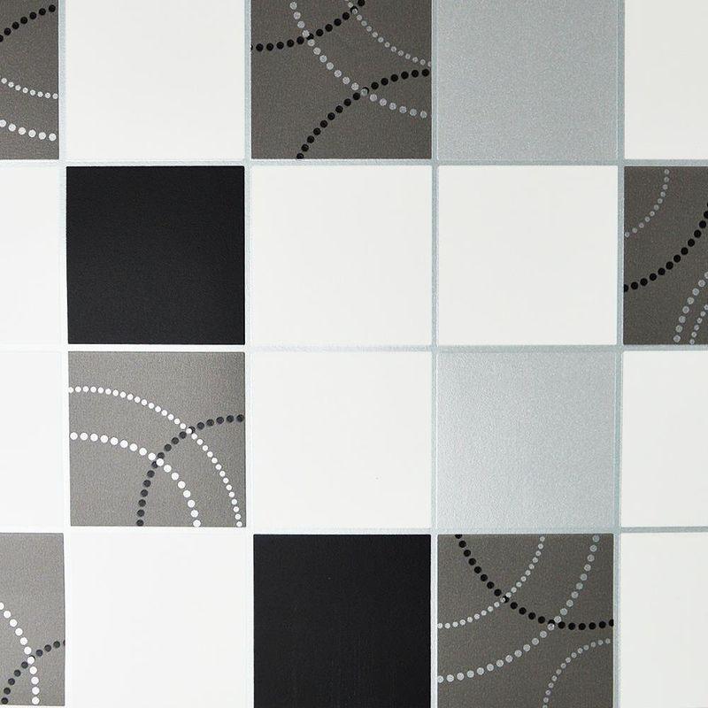 Image of Debona - Dotty Wallpaper Kitchen Bathroom Black Silver Tile Effect Washable
