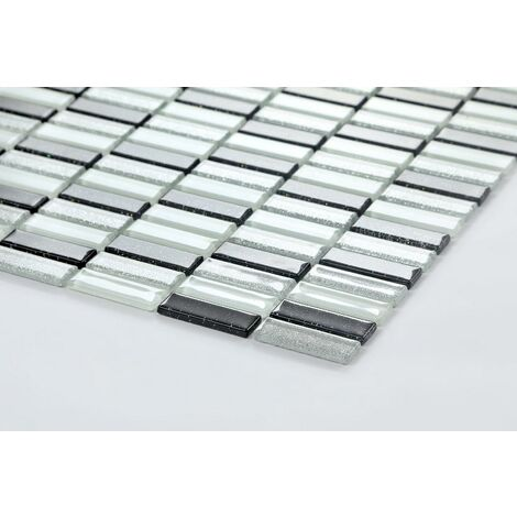 Black Silver White Glitter Glass Wall Border Splashback Mosaic Tile MT0028