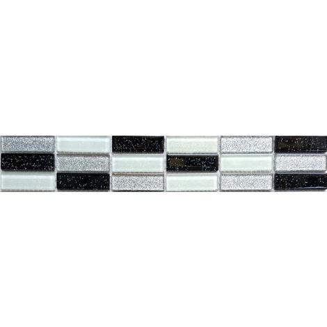 Black Silver White Glitter Glass Wall Border Splashback Mosaic Tile MT0028