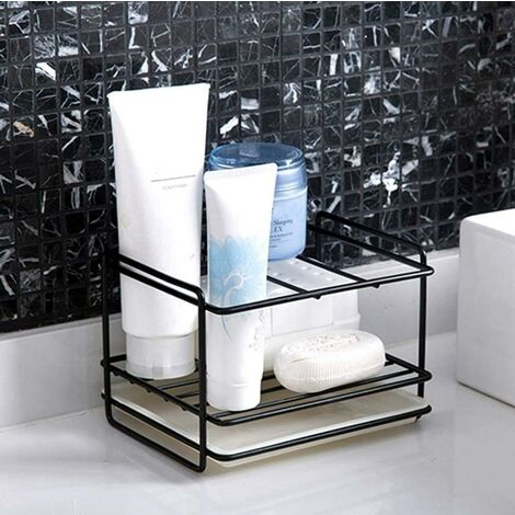 "main image of ""Black sink organizer for kitchen, sponge holder, sponge holder sink perfect for storing rags, detergent, dish brush and dish sponge in one place, black"""