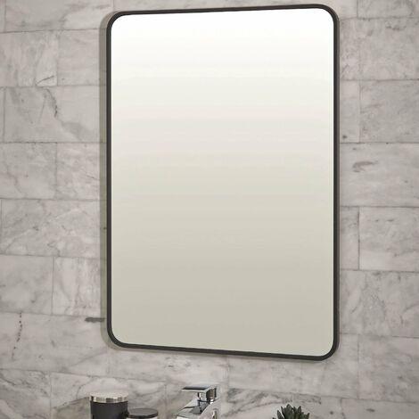 Black Soft Rectangular Bathroom Mirror 500mm x 700mm Wall Mounted Stylish